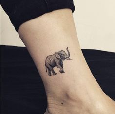 Best Animal Tattoo Designs - Adorable elephant tattoo on ankle by Hongdam