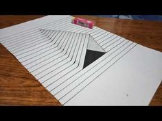 How to Draw Steps in a Hole - Line Paper Trick Art Drawings On Lined Paper, 3d Pencil Drawings, 3d Art Drawing, Geometric Drawing, Art Drawings For Kids, Amazing Drawings, Easy Drawings, Illusion Kunst, Illusion Drawings
