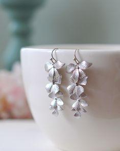 Silver Orchids Earrings. Matte Silver Orchids Flowers Long Dangle Earrings, Wedding Jewelry, Bridal Earrings, Bridesmaid Gift