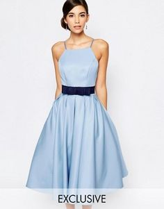 """Chi Chi London High Neck Midi prom Dress with Full Skirt $106.00 Woven fabric Square neckline Bow belt detail Pleated skirt Regular fit - true to size Hand wash 100% Polyester Our model wears a UK 8/EU 36/US 4 and is 176cm/5'9.5"""" tall Exclusive to ASOS"""