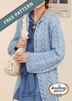Radiate poise and elegance with this long, lacy knitted jacket with a flattering drape. Inspire your creativity and craft it in blue for yourself, or as a gift to a dear friend. | Discover over 4,500 free knitting patterns at theknittingspace.com #knitpatternsfree #summerknits #summerknittingproject #summerknittingpatterns #springknits #springknittingpatterns #springknittingprojects #homemadegift #giftideas Cardigan Pattern, Jacket Pattern, Knit Cardigan, Knit Sweaters, Winter Sweaters, Long Cardigan, Knitting Patterns Free, Free Knitting, Knit Patterns
