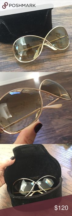 Tom Ford sunglasses. White and gold details Comes with case. Purchased at Nordstrom. Worn very few times. Very minor minimal signs of wear. Few light scratches nothing noticeable. Tom Ford Accessories Glasses