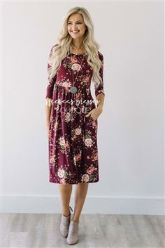 Wine Mauve Floral Pocket Modest Dress Bridesmaids Dress, Church Dresses, dresses for church, modest bridesmaids dresses, trendy modest dresses, modest womens clothing, affordable boutique dresses, cute modest dresses, mikarose, best modest boutique
