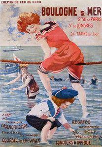 Affiche Chemins fer du Nord - Boulogne sur Mer 3, France Atlantique . Vintage travel beach poster #plage #spiaggia #riviera www.varaldocosmetica.it/en
