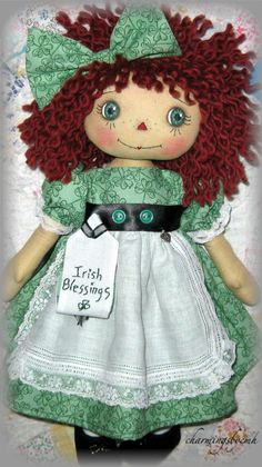 Adorable Raggedy Ann with Irish Blessings Gustafsson Gustafsson McCarver Doll Clothes Patterns, Doll Patterns, Ann Doll, Raggedy Ann And Andy, Irish Blessing, Sewing Dolls, Waldorf Dolls, Barbie, Doll Hair