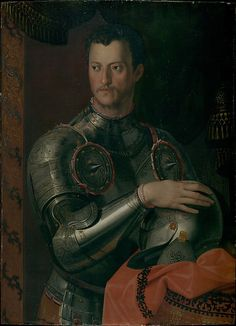 Cosimo I de' Medici (1519–1574)  Workshop of Bronzino (Italian, Monticelli 1503–1572 Florence)  Medium: Oil on wood Dimensions: 37 3/4 x 27 3/4 in. (95.9 x 70.5 cm) Classification: Paintings Credit Line: Rogers Fund, 1908 Accession Number: 08.262