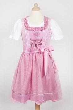 Kinder Dirndl Anni rosa aus Baumwolle mit weißen Blumen