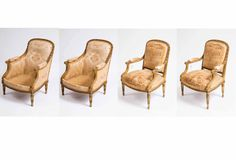Set of four outstanding quality 19th century French gilt-wood armchairs by 'Mellier'. www.wallrocks.com.au