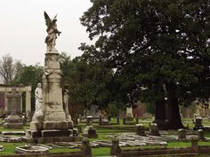 Elmwood Cemetery was established in 1852 and is one of the oldest active cemeteries in the country.  Lovely Victorian statuary decorates many of the 70,000 graves, and the visitor's center is in a Gothic cottage built in 1866.  (Photo courtesy of University of Missouri-Columbia.)