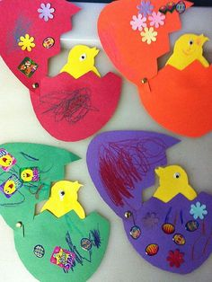 """Spring """"Easter"""" craft for kids- cracked (paper) egg that opens (with bracket) to a chick inside. Cute and fun! {Could just make a paper outline for kids to cut or trace to make it less work for teacher?}~ 20 hatching-chick-craft-636"""