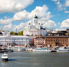 Helsinki Helsinki, Finland Finland Trip Ideas sky scene Boat Harbor water River Town landmark City cityscape vehicle waterway Sea town square palace travel passenger ship docked Canal