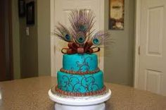 peacock wedding cake birthday cake blue teal brown copper turquoise with feathers so bohemian hippie