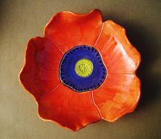 Coral  Poppy Pottery Dish ceramic bowl by RobinChladDesigns