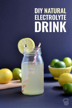 """Great for """"labor-ade""""! OR This DIY natural electrolyte drink is perfect for keeping the body hydrated during extended times out in the heat, or when someone in your household has a nasty bout of the flu, food poisoning, diarrhea or a cold. Water Recipes, Whole Food Recipes, Drink Recipes, Smoothie Drinks, Smoothies, Homemade Electrolyte Drink, Homemade Pedialyte, Natural Electrolytes, Hydrating Drinks"""