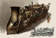 Steampunk trains Artwork | Steampunk Train Locomotive