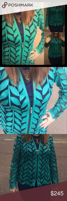 Feather Leather Jacket (Pick any color you want!) Genuine Leather turquoise jacket says size small but fits about loose 8-tight 14. Can get any size made if allow three weeks shipping. Leather Native to Turkey. Says small but def not in this cut. Can get shorter cut and smaller or up to 3x. Jackets & Coats Blazers