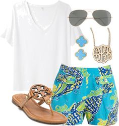 southernbombshell23:  lilly shorts by annaecummings-1 featuring a 14k gold pendant ❤ liked on PolyvoreR13 white t shirt / Lilly Pulitzer  shorts / Tory Burch beach sandals / Moon and Lola 14k gold pendant / Van Cleef Arpels jewelry / J.Crew star sunglasses