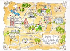 Custom Wedding Map - Hand Drawn Wedding Map-Watercolor Map of your city on Etsy, $150.00