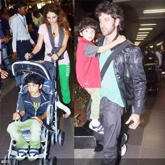 Hrithik Roshan and his family spotted at the Mumbai International airport while returning to the city after a short holiday in Maldives.(