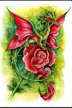 Flower rose dragon tattoo
