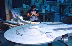 A technician works on the Reliant filming model for ST II: The Wrath Of Khan, 1982.