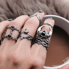 ✧♆✧ Shop 50+ NEW Lines NOW! Shop Running With The Wolves Now ✧♆✧ shopdixi.com ✧♆✧ dixi // jewellery // jewelry // boho // bohemian // grunge // goth // dark // mystic // magic // witchy // sterling silver // rings // thorn // wild // wolves