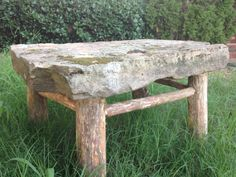 Stonetop Outdoor Coffee Table/Bench by NaturalStateTrading on Etsy, $300.00