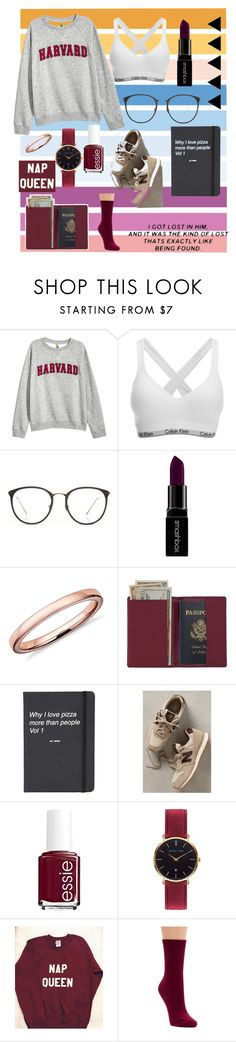"""""""•maroon•"""" by juststopandbreath on Polyvore featuring Disney, H&M, Calvin Klein, Linda Farrow, Smashbox, Sevil Designs, Royce Leather, Topshop, New Balance and Essie"""