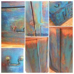 Shades of Blue-Unicorn SPiT Cabinet Makeover - Modern Chalk Paint Furniture, Diy Furniture Projects, Funky Furniture, Furniture Makeover, Refinished Furniture, Repurposed Furniture, Woodworking Projects, Furniture Design, Diy Projects