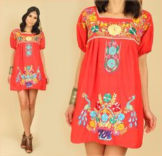 ViNtAgE 70's Red Floral Mexican EMBROIDERED Mini Cotton Tunic Dress by hellhoundvintage, $68.00