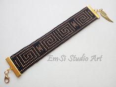 Bracelet woven on loom, bracelet toho, black- gold bracelet ,greek motif