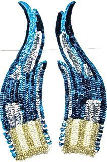 "Flame Pair with Turquoise Sequins and Silver Accents and Beaded Bottom 12"" x 3"""