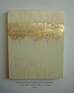 Golden Strata 3Abstract Painting With Gold Leaf on by seenshop, $195.00