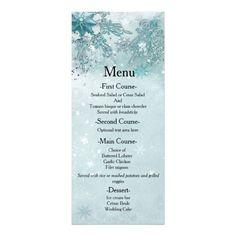 Snowflakes Winter Wonderland Wedding Menu Card Invite