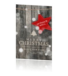 Kerstkaart zakelijk steigerhout kerstster