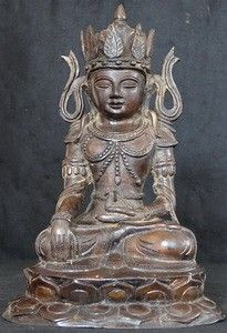 Front Burmese Crowned Bronze Buddha Statue
