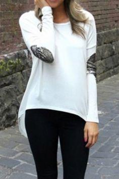 Graceful Jewel Neck Sequin Spliced Long Sleeve Blouse For Women Blouses | RoseGal.com Mobile