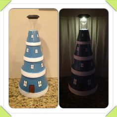 Terra cotta lighthouse for my mom Clay Pot Lighthouse, Melting Pot, Terracotta Pots, Lawn And Garden, Summer Crafts, Clay Pots, Crafts To Do, Lighthouses, Seashells