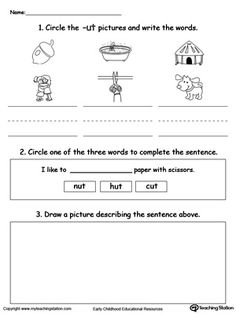 UT Word Family Connect, Trace and Write | Word Families, Words and ...