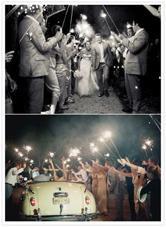 I love the setting, the colours, her dress, the sparklers, the cake, ...!