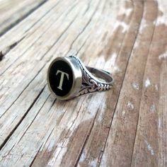 Letter T Vintage Typewriter Key Ring