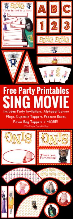 Look no further for SING Movie party printables! Everything you need to throw an awesome SING party can be downloaded for FREE! The free SING Movie party printables include party invitations, favor bag toppers, pennants, alphabet & number banner flags, po
