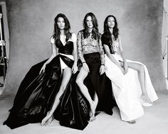 With their imminent arrival in London for the Victoria's Secret catwalk show, Patrick Demarchelier shoots six of the angels for British Vogue's November 2014 issue. Candice Swanepoel, Adriana Lima, Lais Ribeiro, Alessandra Ambrosio, Lily Aldridge and Elsa Hosk wear haute couture gowns styled by Kate Phelan. Here: Lily, Alessandra, and Lais.