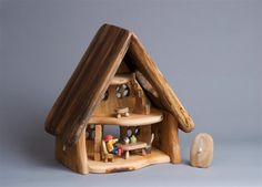 If youve browsed the shop lately I imagine youve noticed a miniature woodlands worth of new carved animals and tiny wooden houses. These come to us from David Palhegyi a most Dollhouse Toys, Wooden Dollhouse, Wooden Dolls, Toy House, Kids House, Rustic Toys, Mini Fairy Garden, Waldorf Toys, Kids Wood
