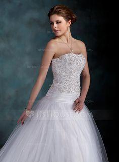 Ball-Gown Sweetheart Court Train Taffeta Tulle Wedding Dress With Ruffle Lace Beading (002000160) - JJsHouse