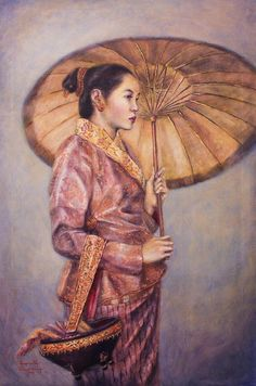 Luang Prabang Painting - Lady Of The Royal Court by Sompaseuth Chounlamany Laos Culture, Pastel Grunge, Luang Prabang, Royal Court, Thai Art, Outfits With Hats, Woman Painting, Stamp Collecting, Good Old