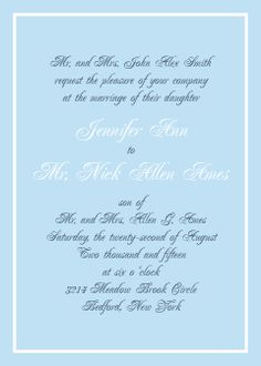 The Simple Border wedding invitation is a simple yet elegant invite that can be personalized with your wedding colors  . The Simple Border design makes it perfect for a pocket or additional accessories such as belly bands and logo squares.