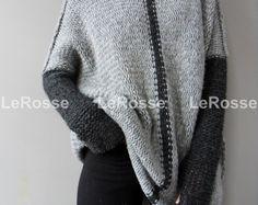 Suéter de punto Slouchy/flojo de gran tamaño. Suéter de alpaca.  Suéter de punto grueso.