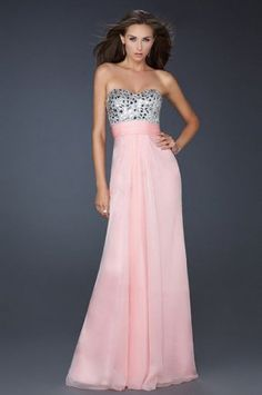 Pink Long Beaded Chiffon Dresses for Prom 2013