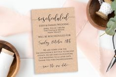 Rescheduled Announcement Card, Wedding, Event Date Change, Shower, Reunion, Cancellation, Postponement, 100% Editable #etsy #paperpassiondeisgn #weddingcancelled #weddingreschedule Dinner Invitations, Bridal Shower Invitations, Card Wedding, Wedding Ideas, Wedding Day Schedule, Funeral Cards, Bridal Bingo, Bar Menu, Guest Book Sign